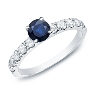 Auriya 14k Gold 1/2ct Blue Sapphire and 1/2ct TDW Round Diamond Enagagement Ring (G-H, I1-I2)