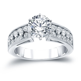 Auriya 14k White Gold 1 1/2ct TDW Round-Cut Diamond Engagement Ring