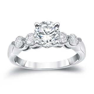 Auriya 14k White Gold 1ct TDW Round Cut Diamond Engagement Ring