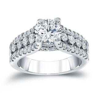 Auriya 14k White Gold 1 1/2ct TDW Round Diamond Engagement Ring
