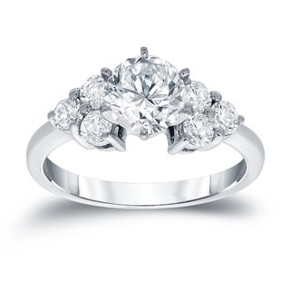 Auriya 14k White Gold 1 1/2ct TDW Round Diamond Ring (H-I, SI2-SI3)