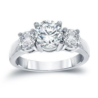 Auriya 14k White Gold 2ct TDW Round Cut Diamond 3 Stone Engagement Ring