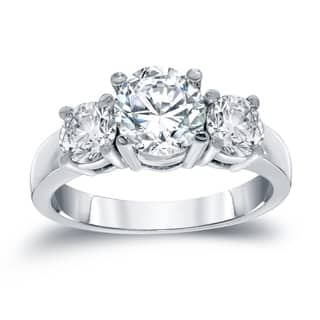 Auriya 14k White Gold 2ct TDW Certified Round-cut Diamond 3-stone Engagement Ring|https://ak1.ostkcdn.com/images/products/10476822/P17566107.jpg?impolicy=medium
