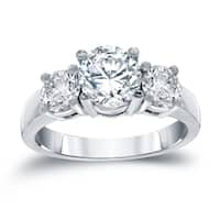 Auriya 14k White Gold 2ct TDW Round-cut Diamond 3-stone Engagement Ring