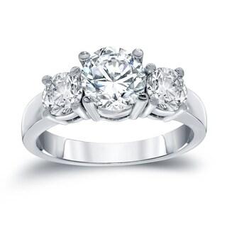 Auriya 14k White Gold 2 Carat TDW Certified Round 3 Stone Diamond Engagement Ring