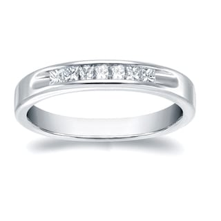 Auriya 18k White Gold 1/3ct TDW Princess Cut Diamonds Channel Wedding Band