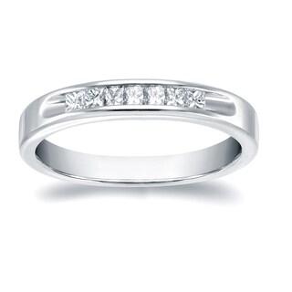 Auriya 18k White Gold 1/3ct TDW Channel-Set Princess-Cut Diamond Wedding Band