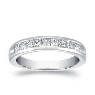 Auriya 18k White Gold 1/2ct TDW Princess-Cut Diamond Channel Band (H-I, VS1-VS2)