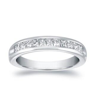 Auriya 18k White Gold 3/4ct TDW Princess Cut Diamonds Channel Band (H-I, VS1-VS2)
