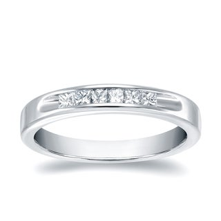 Auriya 18k White Gold 1/4ct TDW Princess Cut Diamond Channel Band