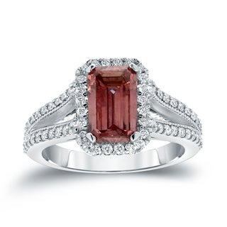 Auriya 18k White Gold 2 3/8ct TDW Pink Diamond Emerald Cut Ring (H-I, SI1-SI2)
