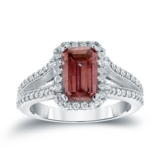 Auriya 18k White Gold 2 3/8ct TDW Vintage Emerald-Cut Halo Pink Diamond Engagement Ring