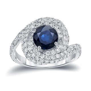 Auriya 14k White Gold 2 1/3ct TDW Round Blue Sapphire Halo Swirl Engagement Ring (D, SI3)