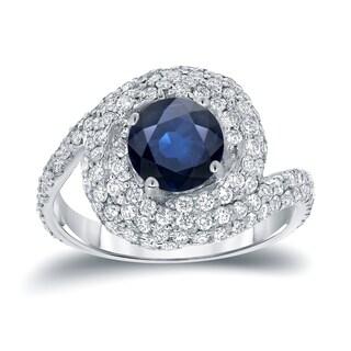 Auriya 14k White Gold 2 1/3ct TDW Blue Sapphire Halo Diamond Swirl Engagement Ring