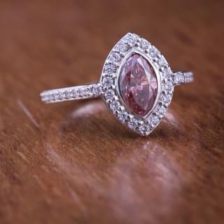 Auriya 18k Gold 1 1/2ctw Halo Marquise Fancy Pink Diamond Engagement Ring