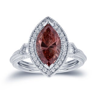 Auriya 18k White Gold 2ct TDW Pink Diamond Marquise Ring (H-I, SI1-SI2)