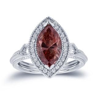 Auriya 18k White Gold 2ct TDW Pink Diamond Marquise Ring