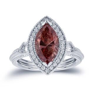 Auriya 18k White Gold 2ct TDW Pink Marquise Diamond Halo Engagement Ring