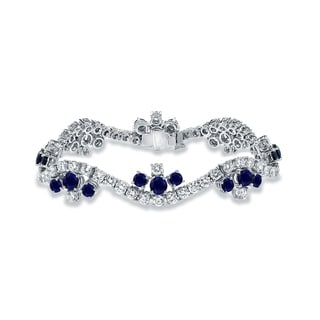 Auriya 18k White Gold 6 1/2ct Blue Sappbire and 7 1/2ct TDW Round Diamond Bracelet (E-F, VS1-VS2)