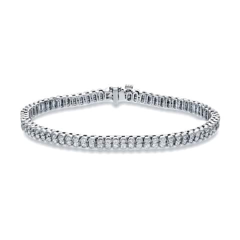 Auriya 3ctw Double Row Round Diamond Tennis Bracelet 14k White Gold - 7-inch
