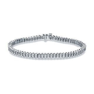 Auriya 14k White Gold 3ct TDW Round Double Diamond Tennis Bracelet