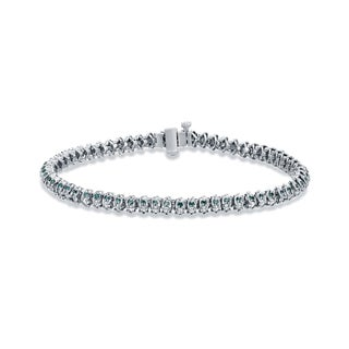 Auriya 14k White Gold 3ct TDW Round Blue and White Diamond Bracelet (Blue)