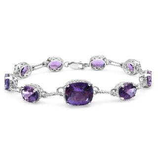 Malaika Sterling Silver 18 1/5ct Amethyst Diamond Accent Bracelet