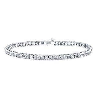 Auriya 14k White Gold 4ct TDW Round Cut Diamond Half Bezel Tennis Bracelet (I-J, SI2-SI3)