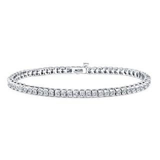 Auriya 14k White Gold 4ct TDW Round Half Bezel Diamond Tennis Bracelet