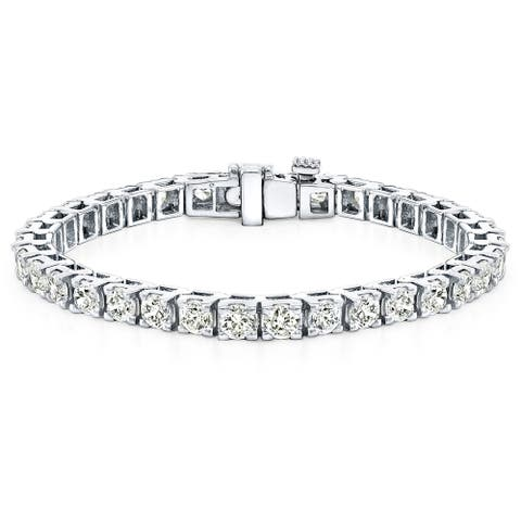 Auriya 12 carat TW Round Diamond Tennis Bracelet 14K Gold