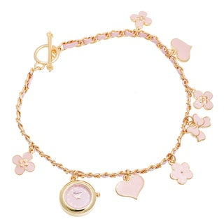 Via Nova Women's Gold Case / Pink Flower & Heart Chain Wrap Watch