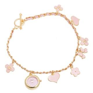Via Nova Women's Gold Case / Pink Flower & Heart Chain Wrap Watch
