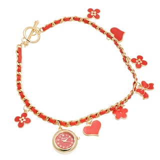 Fortune NYC Women's Gold Case / Red Flower & Heart Chain Wrap Watch