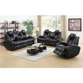 DeNatali 3-piece Black Living Room Set  sc 1 st  Overstock.com & Power Recline Sofas Couches u0026 Loveseats - Shop The Best Deals for ... islam-shia.org