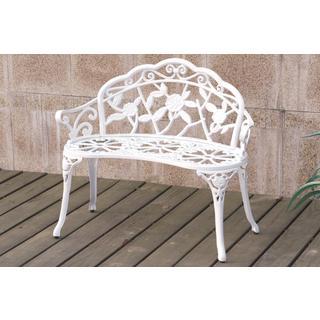 Bolinas Rose White, Bronze Bench
