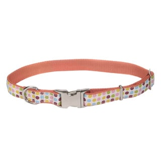 Coastal Pet Attire Ribbon Adjustable Nylon Collar with Aluminum Buckle Dots
