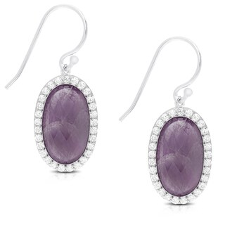 Dolce Giavonna Sterling Silver Oval Gemstone and Cubic Zirconia Dangle Earrings