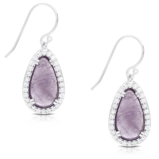 Dolce Giavonna Sterling Silver Gemstone and Cubic Zirconia Dangle Earrings