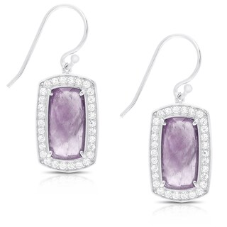 Dolce Giavonna Sterling Silver Gemstone and Cubic Zirconia Dangle Earrings (4 options available)