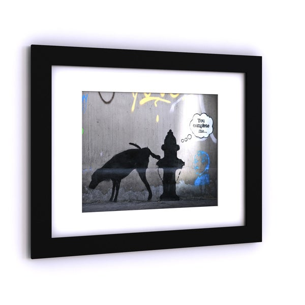 Porch & Den Banksy 'You Complete Me' White Matte, Black Framed Wall Art