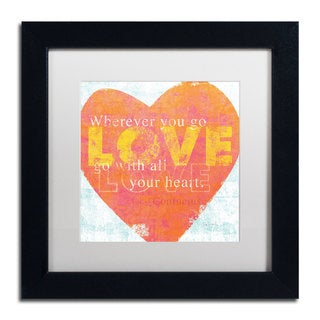 Sue Schlabach 'Letterpress Love' White Matte, Black Framed Wall Art