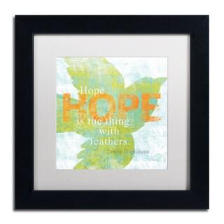Sue Schlabach 'Letterpress Hope' White Matte, Black Framed Wall Art