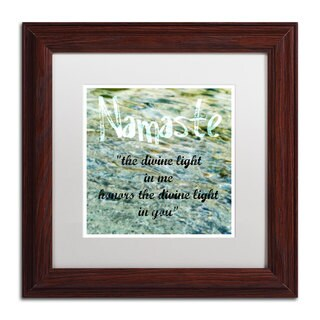 Michelle Calkins 'Namaste with Water Pool' White Matte, Wood Framed Wall Art