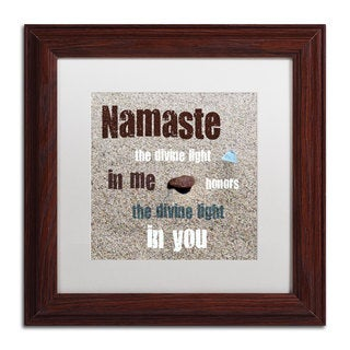 Michelle Calkins 'Namaste with Pebble and Beach Glass' White Matte, Wood Framed Wall Art