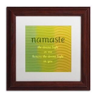 Michelle Calkins 'Namaste' White Matte, Wood Framed Wall Art