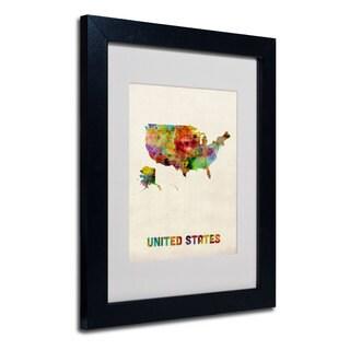 Michael Tompsett 'US Watercolor Map' White Matte, Black Framed Wall Art