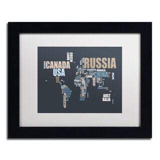 Michael Tompsett 'World Text Map' White Matte, Black Framed Wall Art