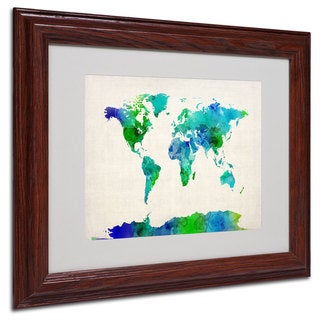 Michael Tompsett 'World Map Watercolor' White Matte, Wood Framed Wall Art