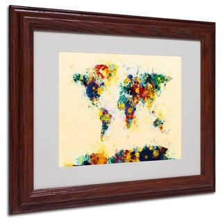 Michael Tompsett 'World Map Splashes' White Matte, Wood Framed Wall Art