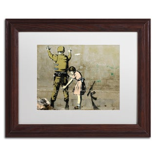 Banksy 'War' White Matte, Wood Framed Wall Art (2 options available)